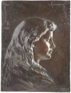 Bronze plaque depicting bust length portrait of Antoinette Eno Pinchot, signed Launt Thompson 1883