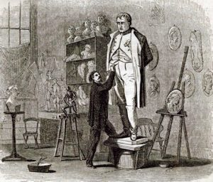 Illustration of the Sculptor Launt Thompson at work in his studio in New York